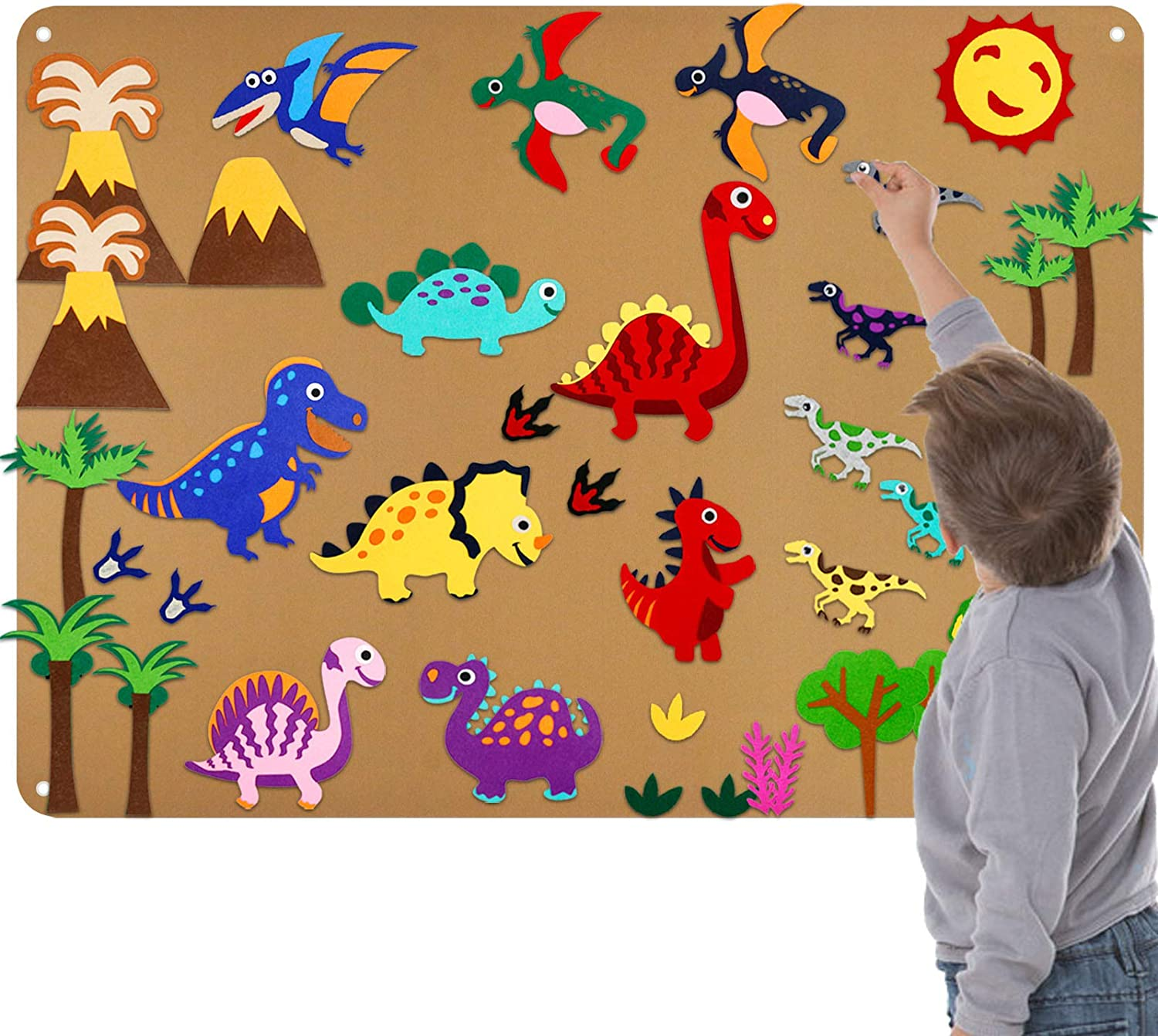 Felt Flannel-Board Stories Set for Toddlers Preschool, Dinosaur Toy Gifts for Kids, Large Wall Hang Activity Storyboard