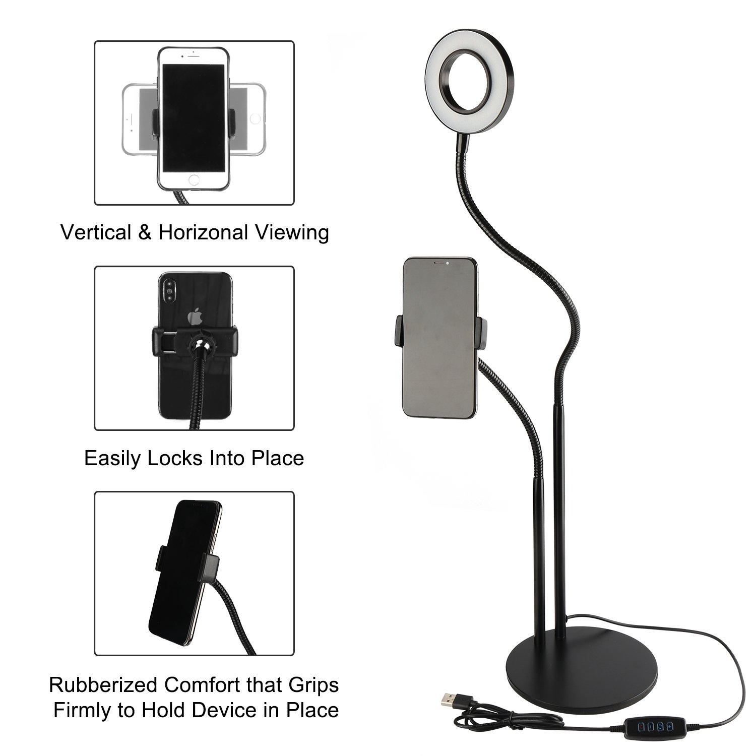 Selfie Ring Light with Cell Phone Holder Stand for Live Stream/Makeup, UBeesize Mini LED Camera Lighting with Flexible Arms Compatible with iPhone/Android by UBeesize (Image #4)