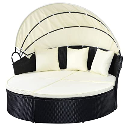 Awesome Outdoor Patio Sofa Furniture Round Retractable Canopy Daybed Black Wicker  Rattan   Round Patio Day Bed
