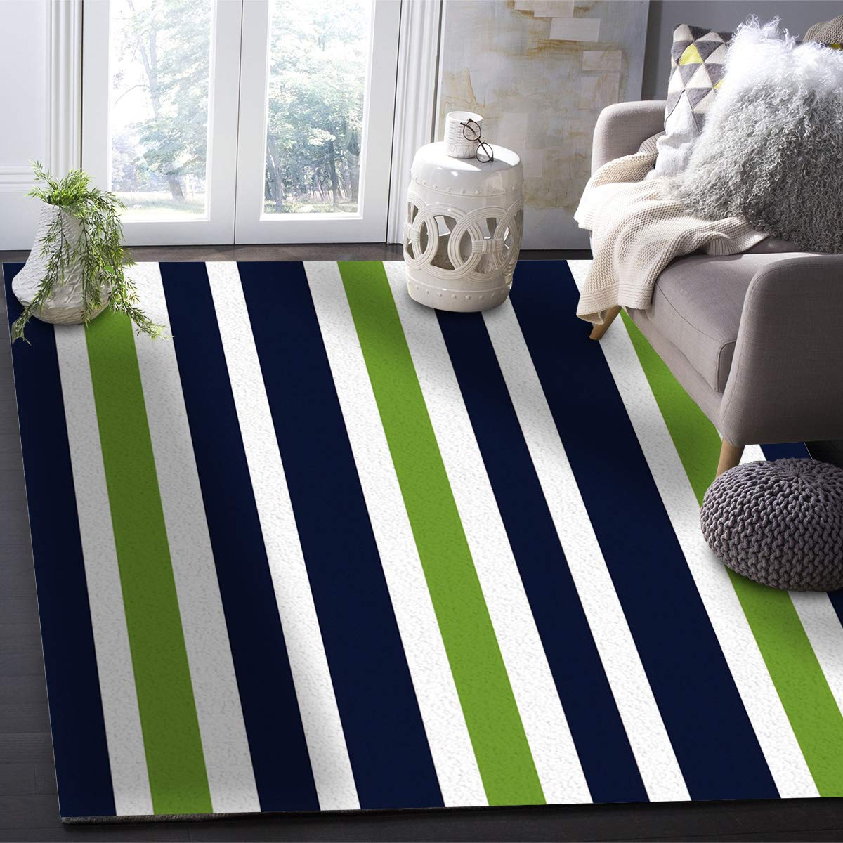 Buy Our Wings Modern Area Rug Navy Blue Lime Green And White Stripe 4 Feet By 6 Feet Indoor Area Rugs Living Room Carpets For Home Decor Bedroom Nursery Rugs Online At