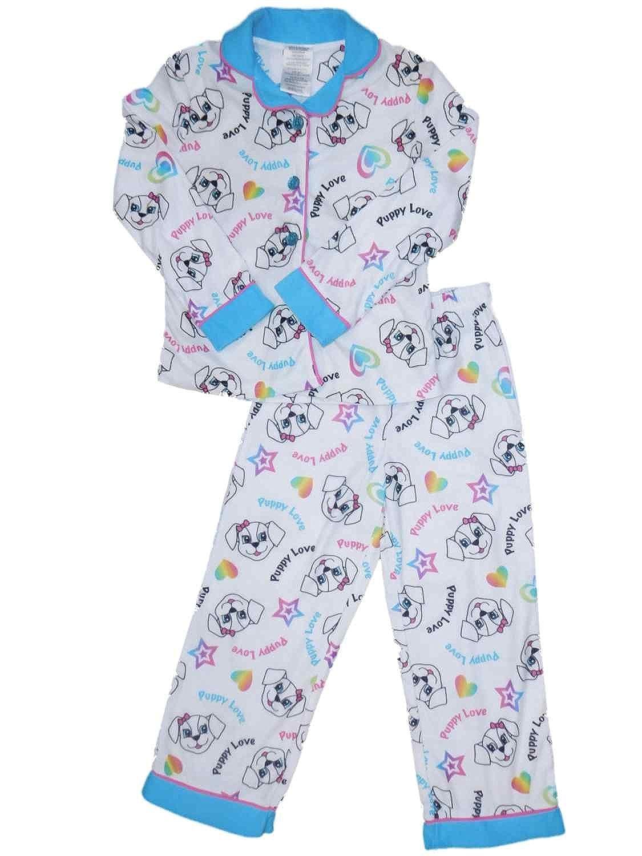 e77f5fae96fe Amazon.com  Heart Girls White Dog with Bow Pajamas Puppy Love Rainbow  Flannel Sleep Set XS  Clothing