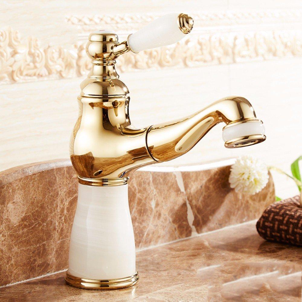 LSRHT Waschtischarmatur Wasserhahn Armatur Badezimmer Waschbecken Mischbatterie Jade ziehen Sie einzelne Bohrung tb-02