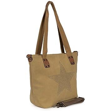 4f906ba36a467 Antonio Damen Handtasche Schultertasche Umhängetasche Tasche Canvas Groß 40  x 33 x 17