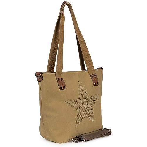 597ab9e8b7 Cleostyle Umhängetasche- Stella Trendy Shopper di Tela con Stella ...