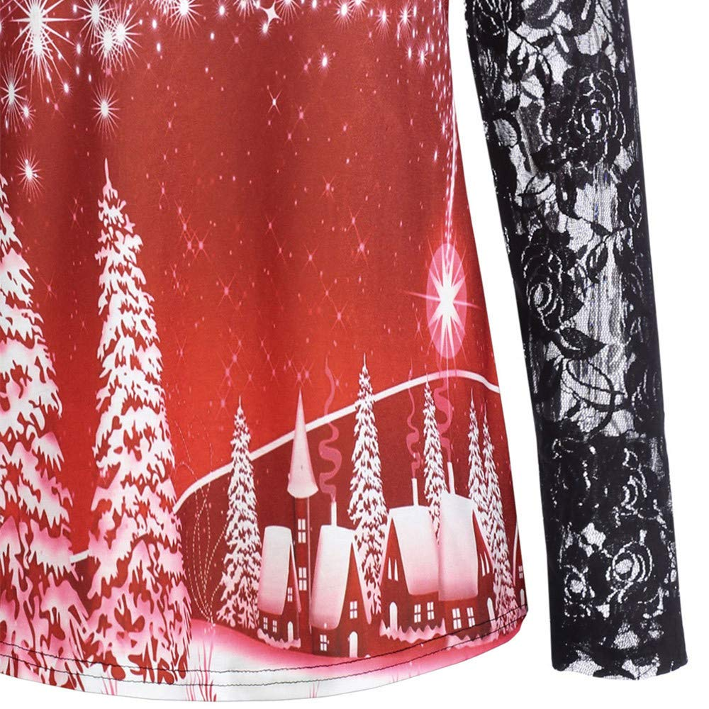 STORTO Womens Christmas Print Tops,Casual Lace Patchwork Long Sleeve Tunic Blouse