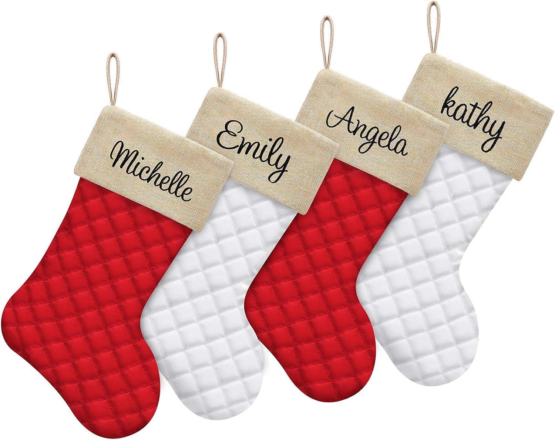 ElegantPark Personalized Christmas Stockings 1 Pack Cotton Quilted Large Luxury Burlap Embroidered Custom Christmas Stocking for Xmas Family Holiday Farmhouse Fireplace Hanging Decoration
