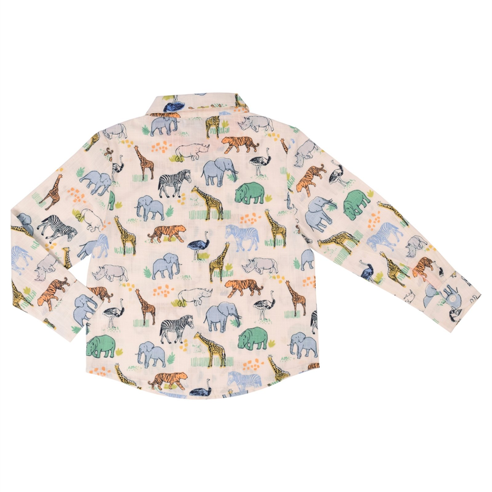 CrayonFlakes Offwhite Shirt in 100% Cotton with Colorful Animal Print