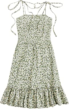 3459e894d776c SheIn Women's Summer Sleeveless Floral Ruffle Strappy Beach Swing Dress