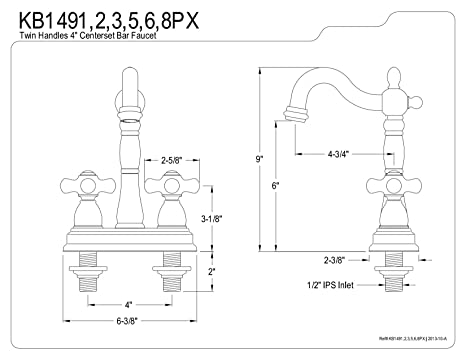 Kingston Brass Kb1495px Heritage Bar Faucet Without Pop Up Rod 4 3