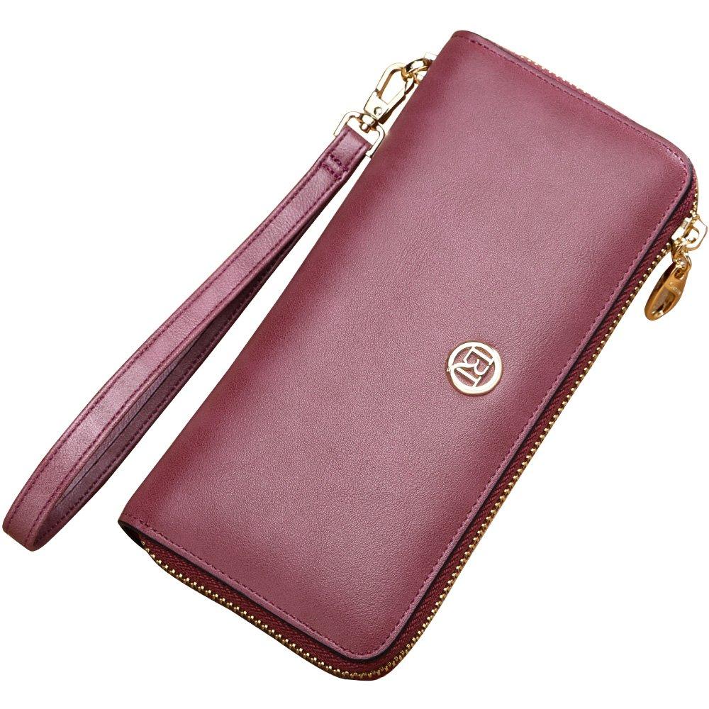 LAORENTOU Women's Genuine Leather Long Wallet Clutch Purse for Women (Purple)