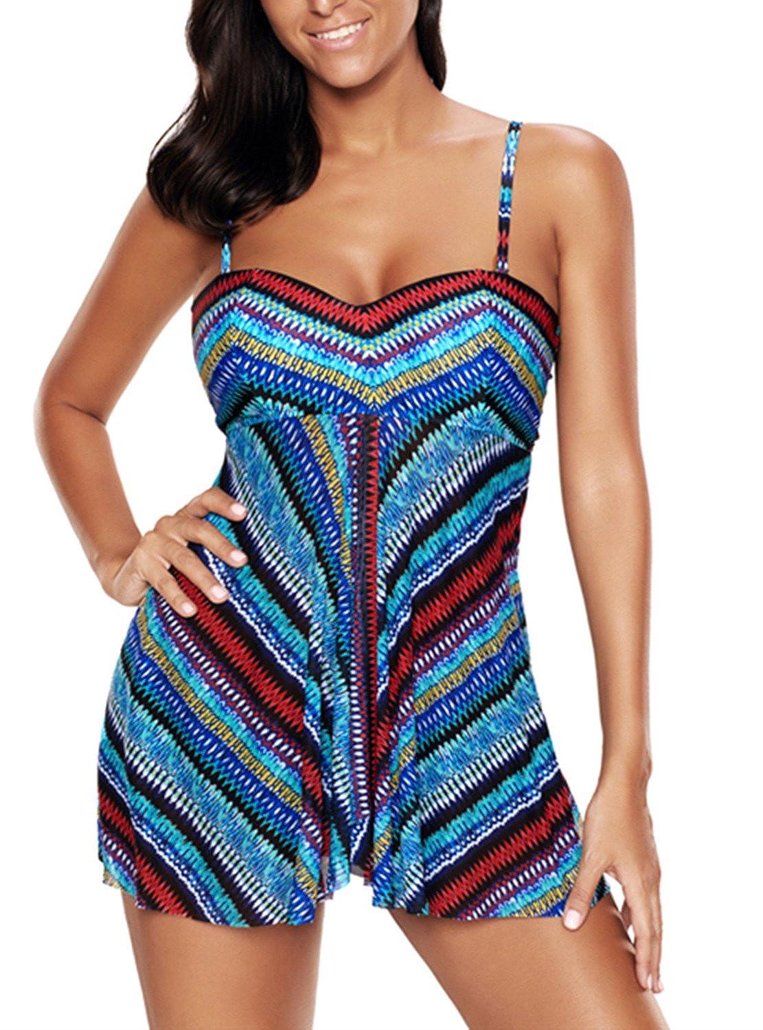 American Trends Women Two Piece Plus Size Tankini Swim Tops