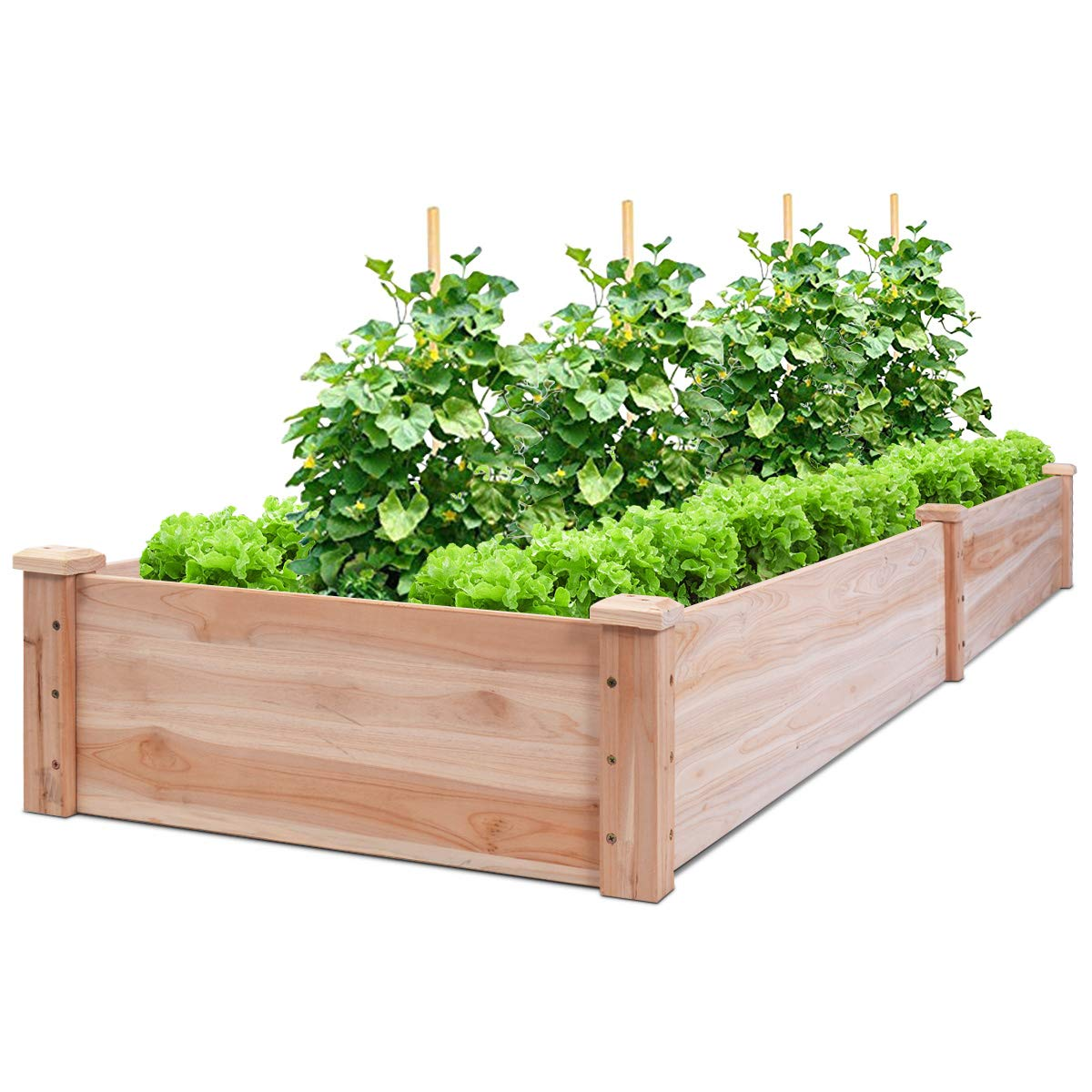 Giantex Raised Garden Bed Planter, Wooden Elevated Vegetable Planter Kit Box Grow for Patio Deck Balcony Outdoor Gardening, Natural 96 X24 X10