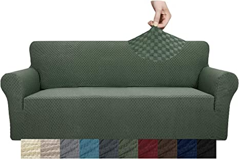 ZNSAYOTX 1 Piece Jacquard Couch Covers for 3 Cushion Couch Living Room High Stretch Sofa Cover Pets Dogs Friendly Anti Slip Thickened Slipcovers Furniture Protector Sofa, Army Green