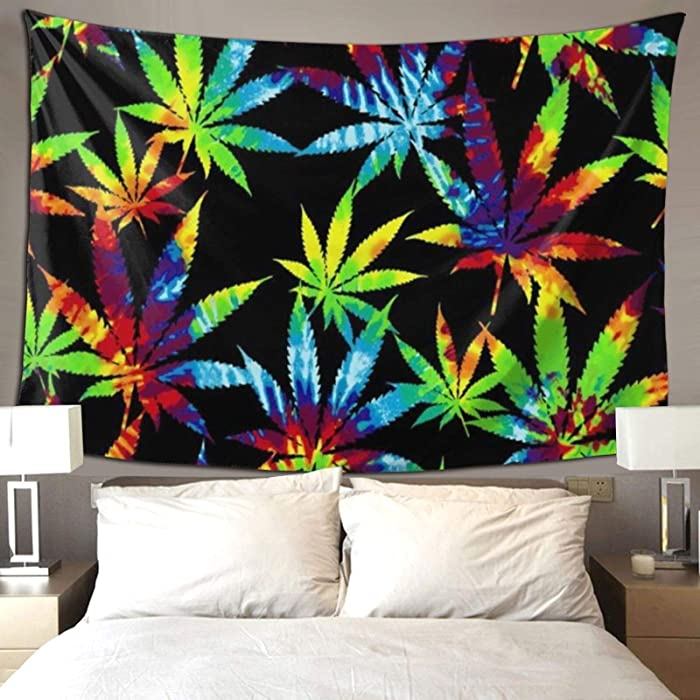 QSMX Tie Dye Weed Leaves Tapestry, Colorful Leaf Wall Hanging Tapestry, Marijuana Art Wall Hanging, Furniture Cover, Mural for Bedroom, Living Room, Dorm, Home Decoration - Perfect Size 60X50 Inches