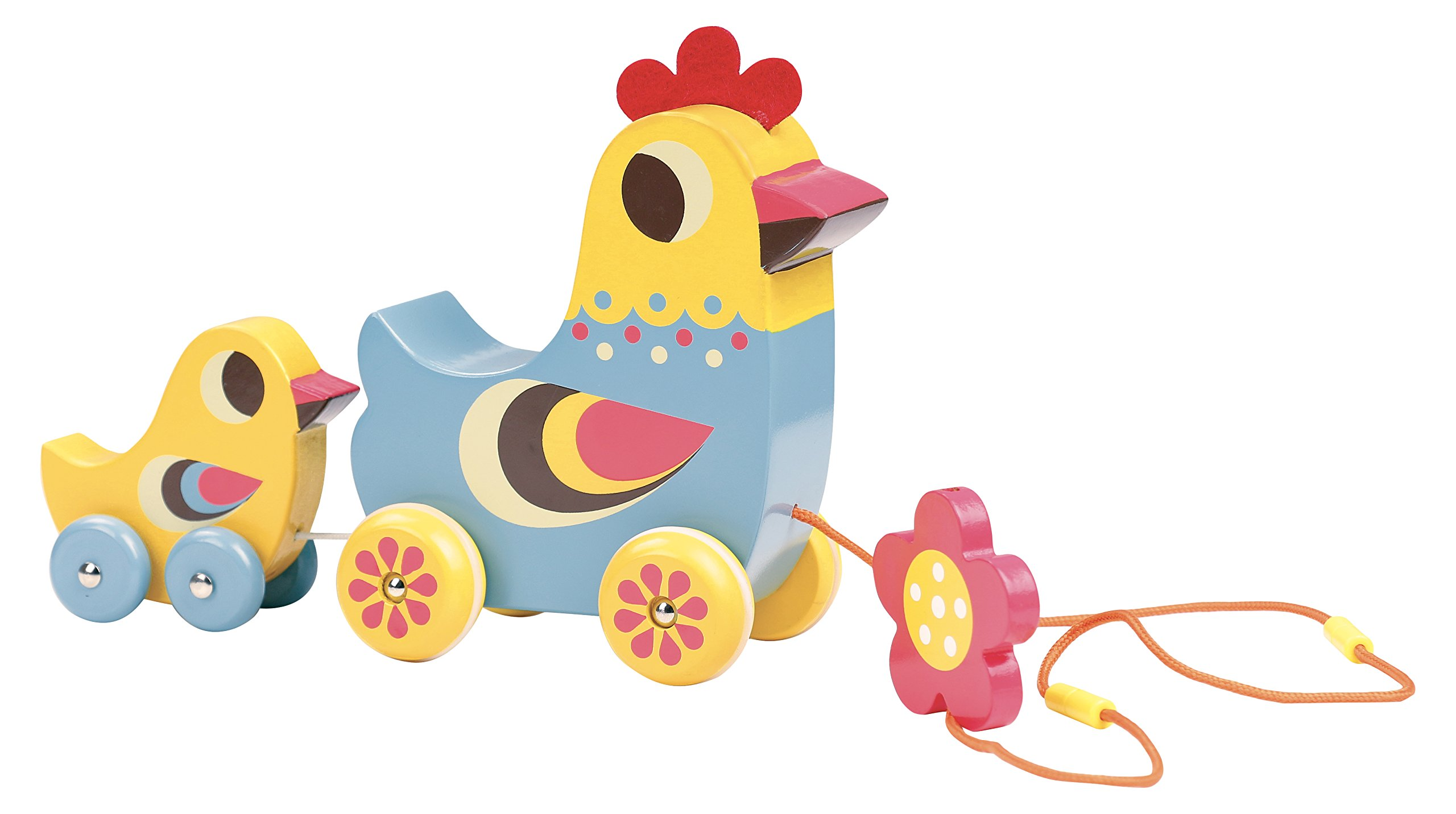 Vilac Vilac7738 Hen and The Chick Pull Along Musical Toy, Multi-Color