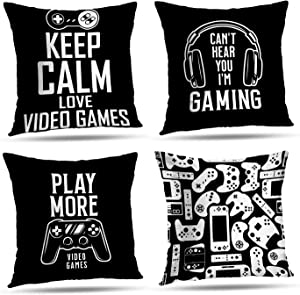 LALILO Gamer Pillow Cover for Gamer Room Decor 18X18 Set of 4 Computer Games Doodles Decorative Throw Pillow Covers Video Game Controller Gamepad Pillow Covers for Boys Room Decor Black and White