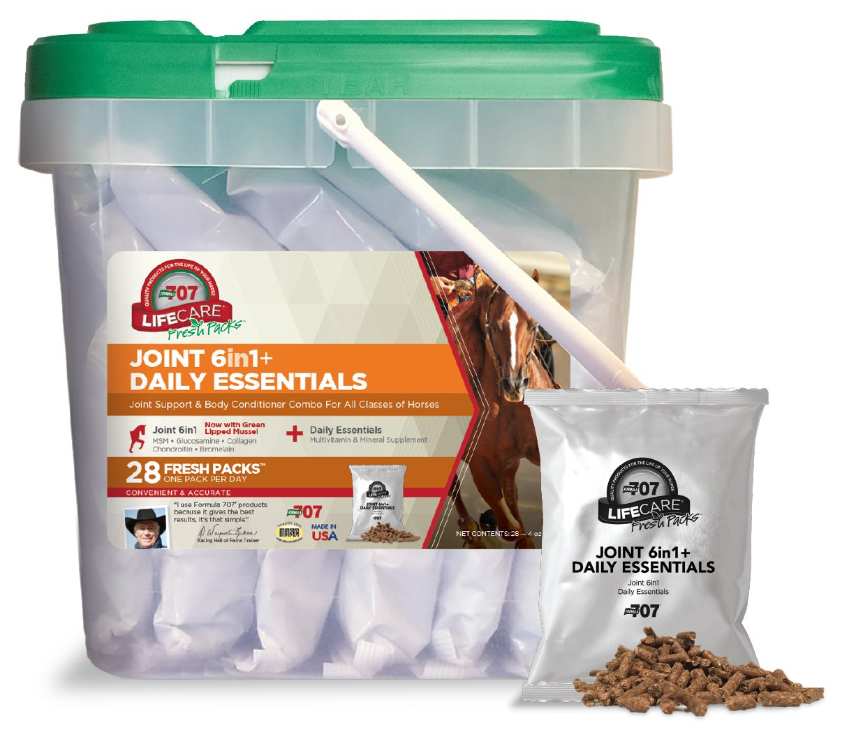 Formula 707 Joint 6in1 + Daily Essentials Combo Fresh Packs Equine Supplement, 28 Day Supply: Green-Lipped Mussel, Glucosamine, Chondroitin, Collagen, Bromelain & MSM + Complete Vitamins by Formula 707