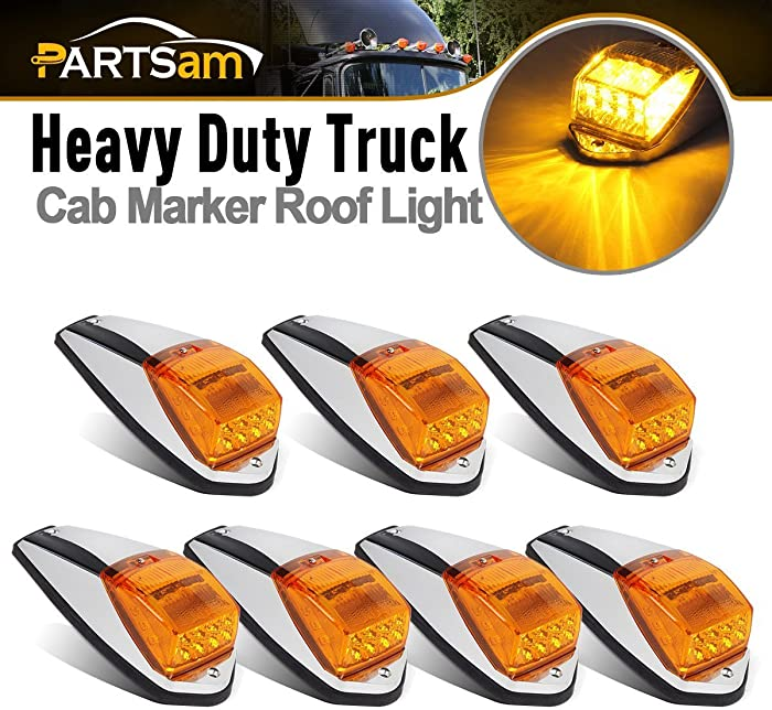 Partsam 7X Truck Top Roof Running LED Cab Marker Trailer Amber 17LED Chrome Light Replacement for Kenworth Peterbilt Freightliner Mack Western Star
