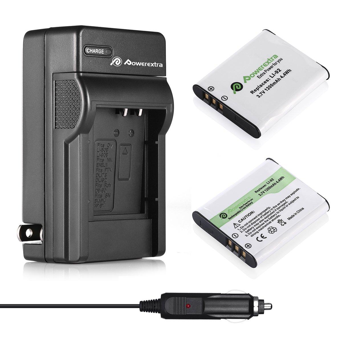 Powerextra 2X D-LI92 Battery & Charger Compatible with Olympus LI-50B, Pentax D-LI92, Ricoh Pentax Optio I-10 RZ10 RZ18 WG-1, WG-2, WG-2GPS, WG-3, ...