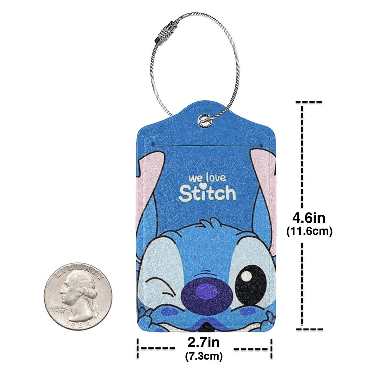 Suit For Travel,Vacation Fashion We Love Stitch Soft Leather Luggage Tags With Privacy Cover 1-4 Pcs Choose