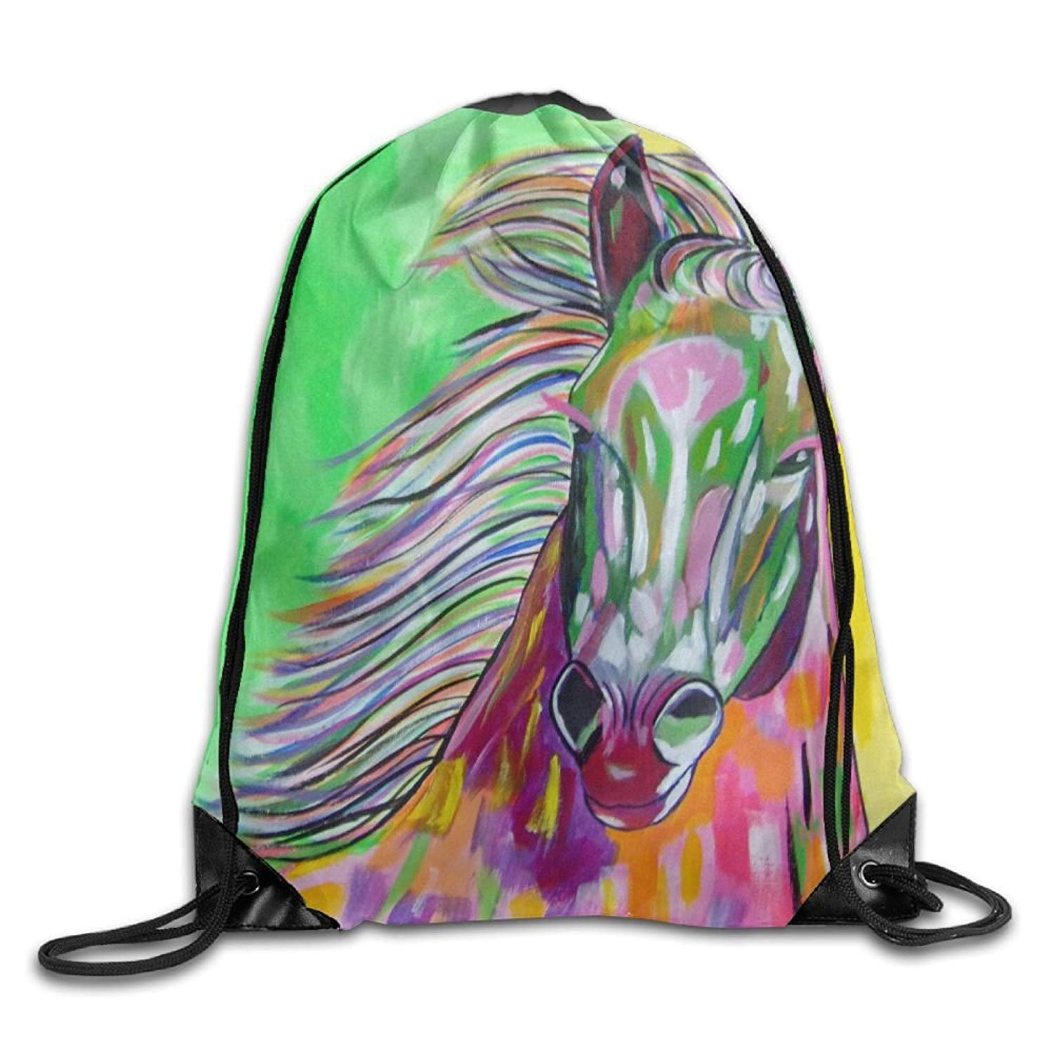 Gym Drawstring Bags Horse Oil Painting Draw Rope Shopping Travel Backpack Tote Student Camping
