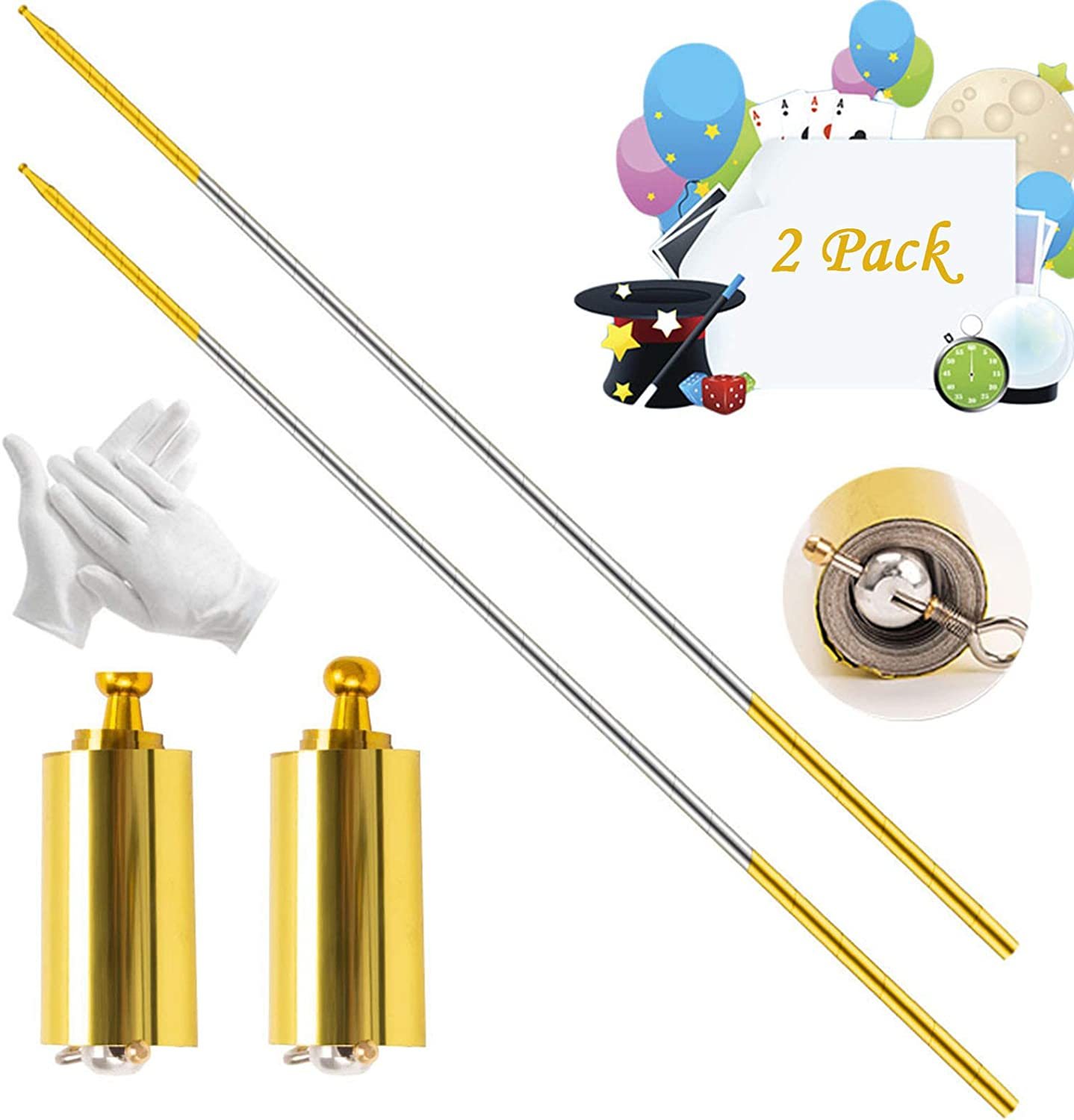 Collapsible Metal Appearing Cane Golden Silver, 43.3in Gifts and Magicians Professional Magician Stage Portable Pocket Arts Staff Magic Tricks Accessories for Adults 2 Pack Magic Pocket Staff