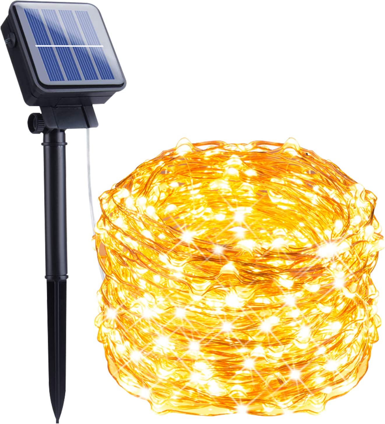 Outdoor Solar String Lights, 33Feet 100 Led Solar Powered Fairy Lights with 8 Lighting Modes Waterproof Decoration Copper Wire Lights for Patio Yard Trees Christmas Wedding Party (Warm White)