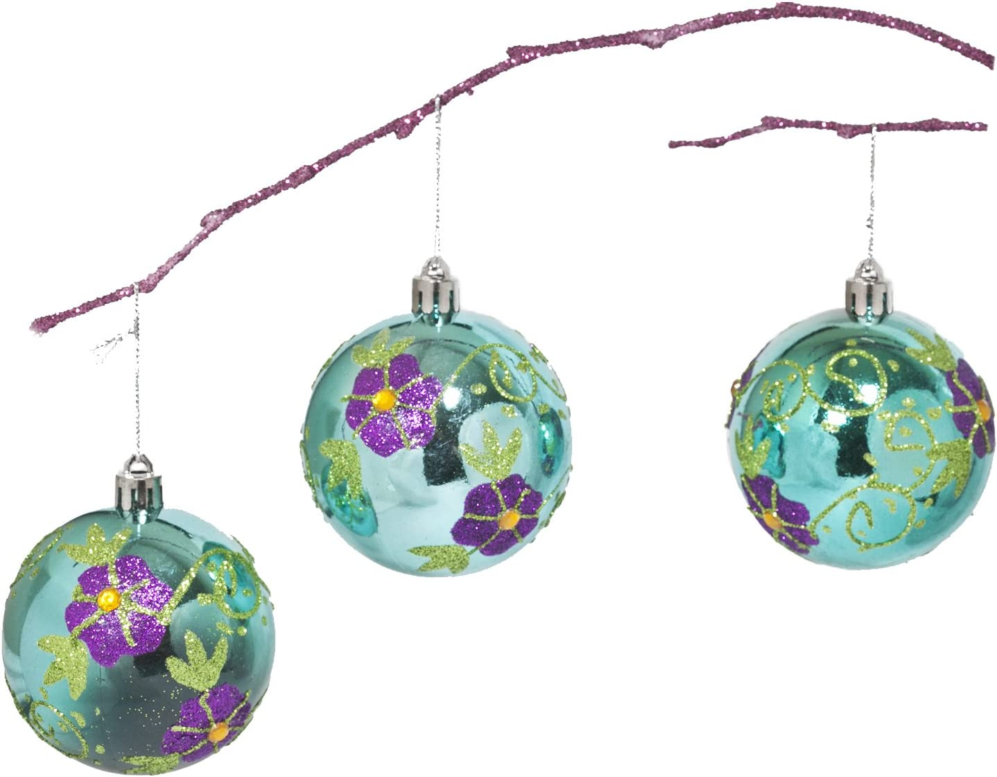 Perfect Holiday Handpainted 3 Piece Shatterproof Christmas Ornament Set 2 75 Inch Lake Blue Ball With Flowers And Acrylic Diamond Home Kitchen