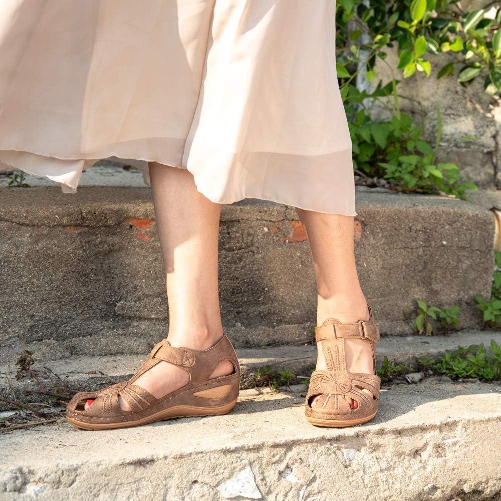 Womens Comfortable Wedge Sandals Ladies Mule Clogs Slippers Strap Platform Vintage Closed Toe Soft Wide Fit Summer Sandal Slip on Black Brown Blue 3-9 UK