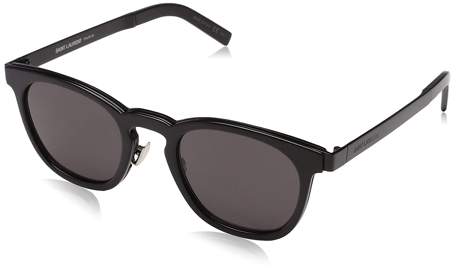 ffbb1fbbf7f07 Saint Laurent SL 28 COMBI 002 Black Round Sunglasses at Amazon Men s  Clothing store