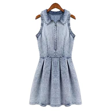 8f3ac480f75 Colorful summer dresses Washed Denim Skirt Spring Sleeveless Snowflake Denim  Dress