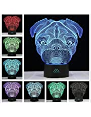 Shapi Dog 3D Night Light 7 Color LED Touch Table Desk Lamps Energy Saving Animal Lights Fashion Creative Home Decoration Gift.