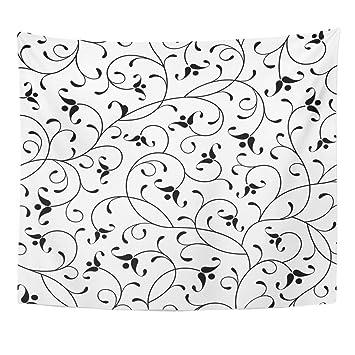 Amazoncom Emvency Tapestry Pattern Floral Oriental Black White