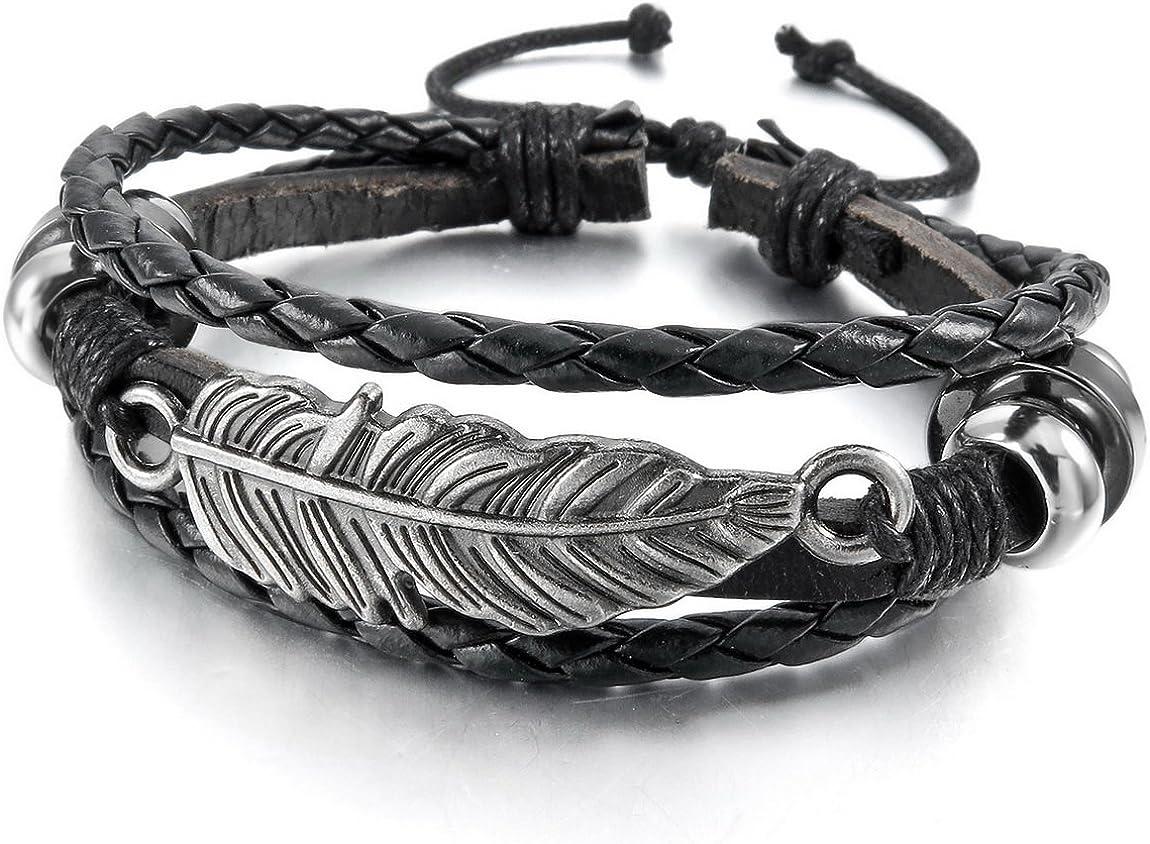 INBLUE Men,Women's Alloy Leather Bracelet Bangle Cuff Silver Tone Black Brown Angel Wing Feather Adjustable