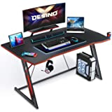 DESINO Gaming Desk 47 inch PC Computer Desk, Home Office Desk Gaming Table Z Shaped Gamer Workstation with Cup Holder and Hea
