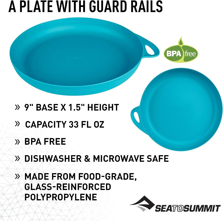4 assiettes mélamine 20 cm blanc//bleu 95 G Camping Sea to Summit