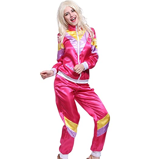 Amazon Com Adult Ladies 80s 1980s Tracksuit Shell Suit Scouser