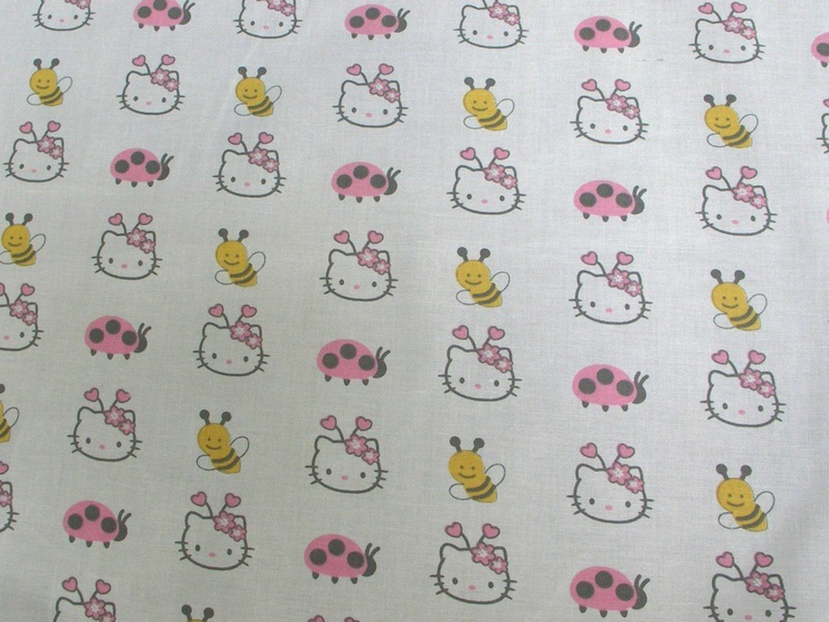9786b02bd Amazon.com: Hello Kitty Lady Bugs Bees On White HK-18 100% Cotton Fabric  Quilt Prints 44/45