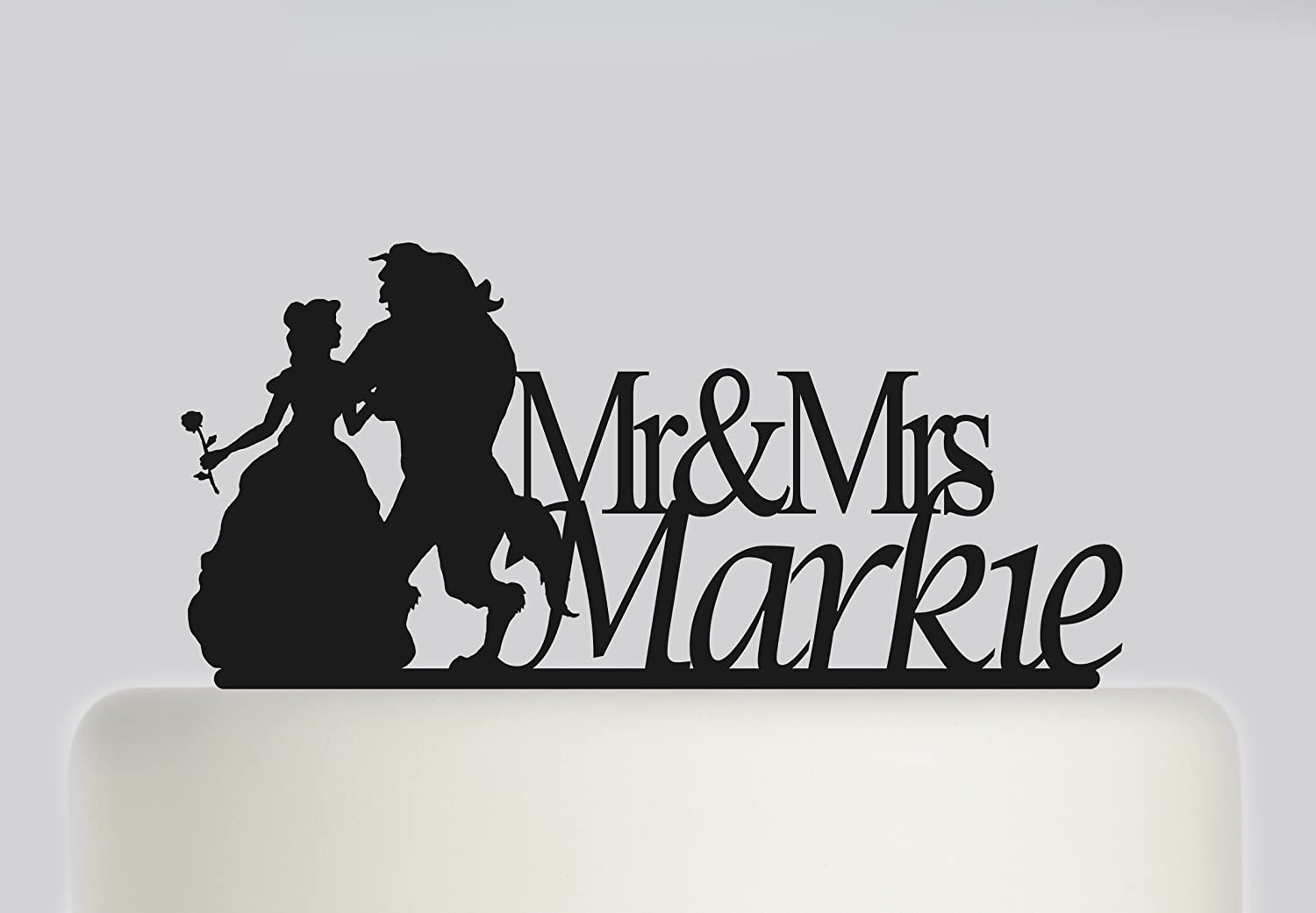 Wedding Cake topper Bride and Groom Beauty and The Beast Themed personalised with your surname. Ideal handmade wedding cake decoration, wedding party Acrylic cake topper MR & Mrs Cake topper, Available in Gold Mirror, Gold Sparkle, Silver Mirror, Silver Sp