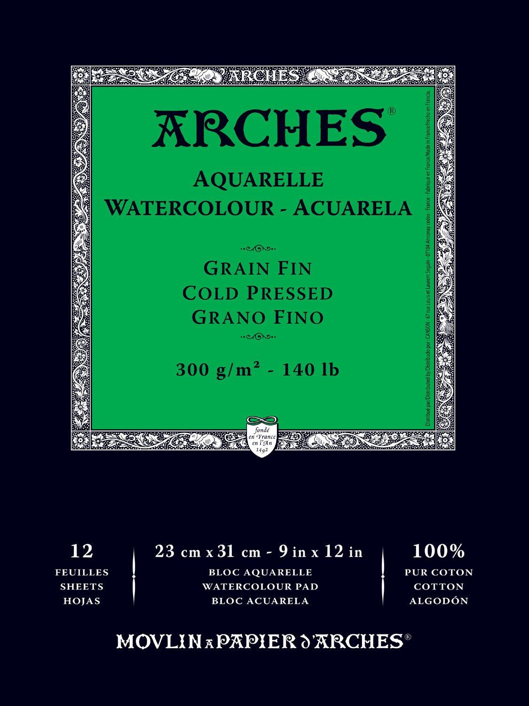 Canson Arches Cold Press Watercolor Pad, 9''X12''