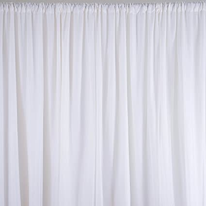 Doolova 20x8 Ft Fabric Backdrop Curtain Background For Pipe And Drape Dispalys Polyester Dual Layers White