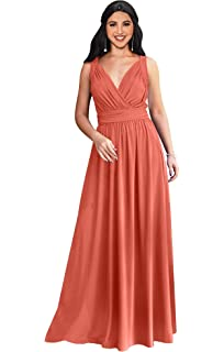 061411d91371 KOH KOH Womens Long Sleeveless Flowy Bridesmaid Cocktail Evening Gown Maxi  Dress