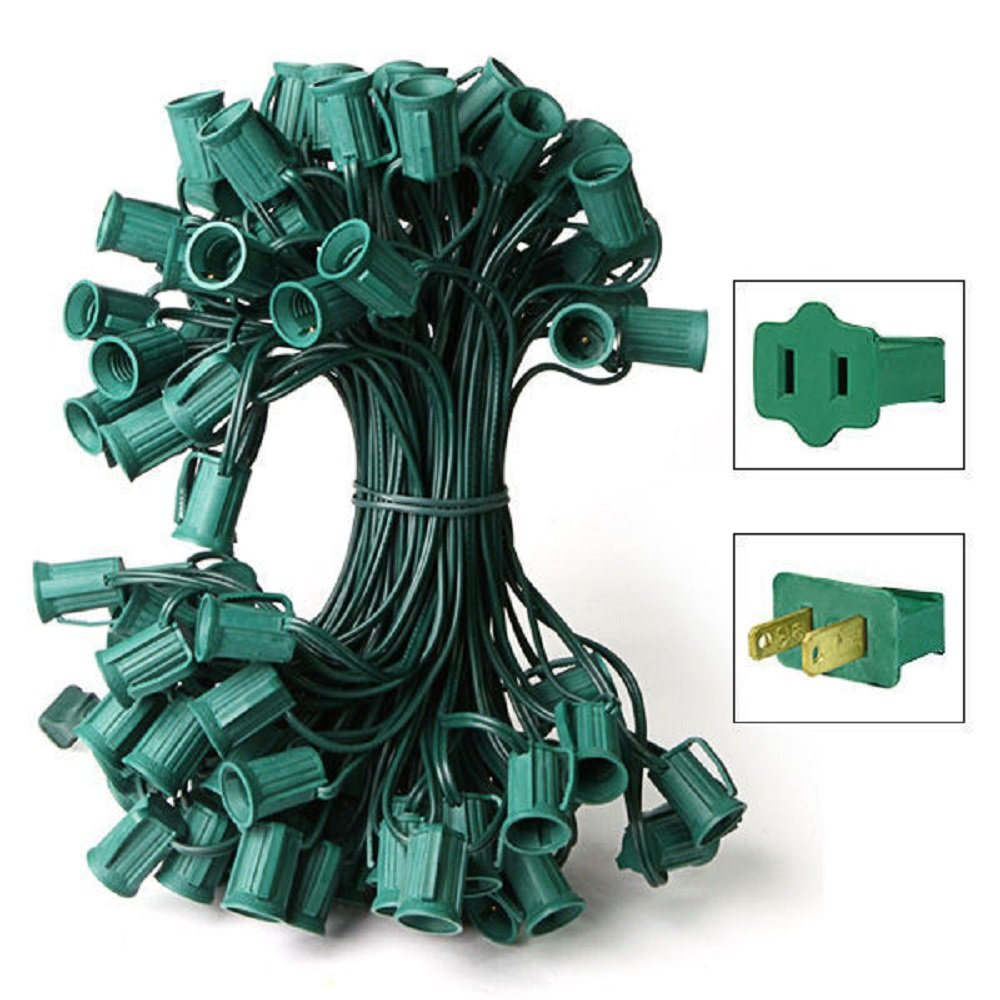 25 ft. Stringer 25 C7 Candelabra Sockets Green Wire Commercial Duty HLS C7-0025-12-1-G by HLS