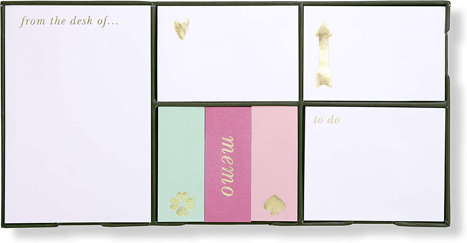 Kate Spade New York Sticky Note Set, Includes 5 Sizes with 100 Sheets of Each, Color Block