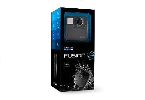 GoPro Fusion - Videocámara 360º deportiva (vídeo 5,2K a 30 fps / 3K a 60 fps, fotos de 18 MP, sumergible hasta 5m, control por voz), color negro