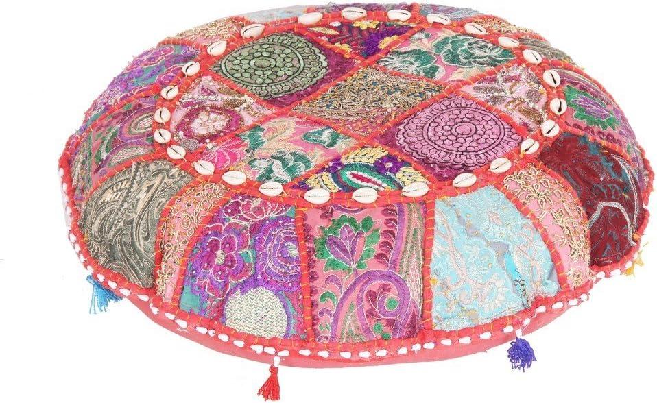 Jaipurtextilehub indischen Gro/ße Boden runde Kissen Boho Patchwork Zari kissenrollen mit Einsatz Ottoman