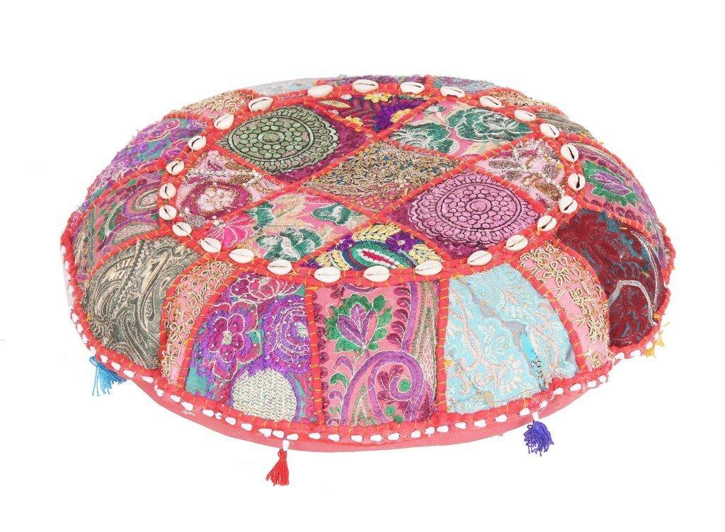 indischen Große Boden runde Kissen Boho Patchwork Zari kissenrollen mit Einsatz Ottoman Jaipur Textile Hub JTH-PUF-15