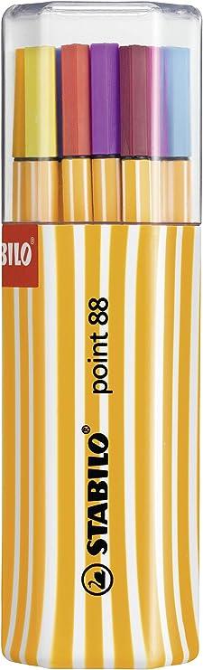 Rotulador punta fina STABILO point 88 - Estuche premium Big point box con 20 colores: Amazon.es: Oficina y papelería