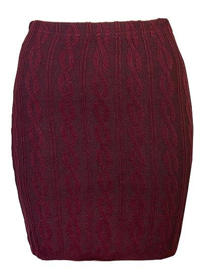 d259d1dfce2 Love Lola pour Femme en Tricot Jupes pour Femme câble Corps Con Mini Jupe  Courte Stretch en Laine d hiver - Rouge - S M  Amazon.fr  Vêtements et  accessoires