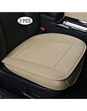 EDEALYN (2PCS PU Leather Seat Covers Auto Seat Protector Car Seat Covers for Front Seat with Side Flaps,(Deep20 inch × Width20 inch × Thick 0.4 inch) (Beige-2 PCS)